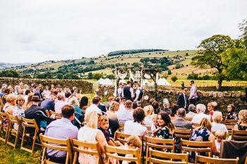 outside wedding derbyshire farm